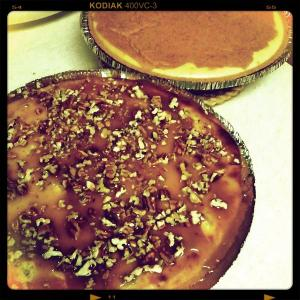 Caramel Apple Pecan and Pumpkin Spice Cheesecakes